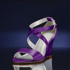 Naisten silkki kuten satiini Wedge heel Sandaalit Kiilat