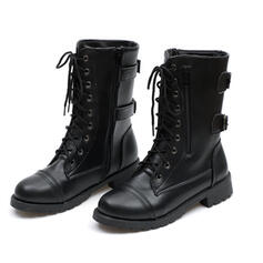 Women's PU Low Heel Flat Heel Chunky Heel Boots Mid-Calf Boots High Top Round Toe With Lace-up shoes
