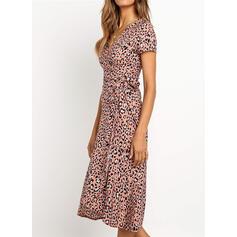 Leopard Short Sleeves A-line Casual/Elegant Midi Dresses