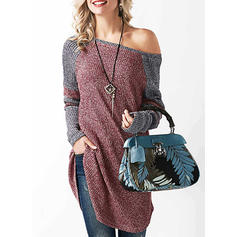 Color Block Ribbed One Shoulder Sweaters