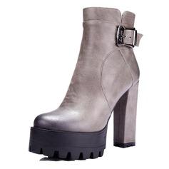 ... Femmes Similicuir Talon bottier Escarpins Plateforme Bout fermé Bottes  Bottines avec Boucle chaussures ... 0c49e2262672