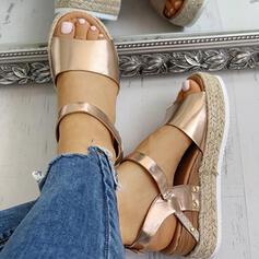 Naisten PU Wedge heel Sandaalit Kiilat Peep toe jossa Solki kengät