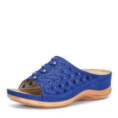 Femmes Similicuir Talon plat Sandales À bout ouvert Escarpins Chaussons avec Ouvertes chaussures