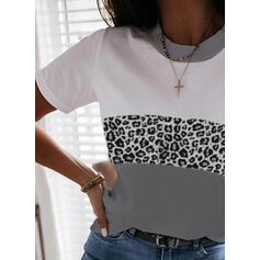 Trozos de color Leopardo Cuello Redondo Manga Corta Camisetas