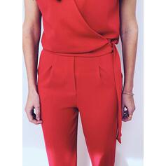 Solid V-Neck Short Sleeves Casual Elegant Jumpsuit