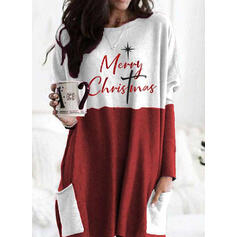 Print Color Block Figure Pockets Round Neck Long Sleeves Christmas Sweatshirt