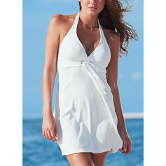 Solid Sleeveless A-line Above Knee Sexy/Vacation Dresses