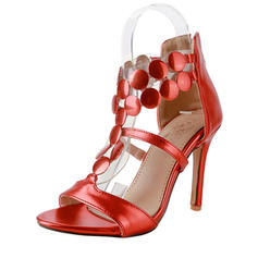 Women's Patent Leather Stiletto Heel Sandals Pumps Peep Toe With Zipper shoes
