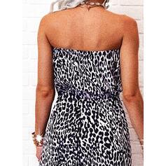 Leopardo Sin mangas Acampanado Patinador Casual Maxi Vestidos