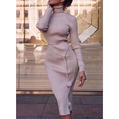 固体 長袖 ボディコンドレス セーター カジュアル/エレガント ミディ ドレス