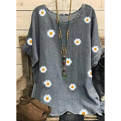 Print Floral Round Neck 1/2 Sleeves Casual Blouses