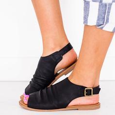 Femmes PU Talon plat Chaussures plates avec Boucle chaussures