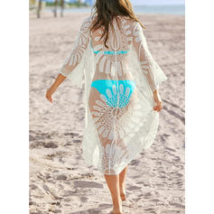 Solid Color Mesh V-Neck Sexy Cover-ups Swimsuits