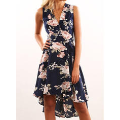 Print/Floral Sleeveless A-line Asymmetrical Party Dresses