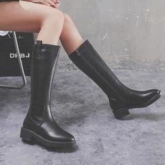 Femmes Similicuir Talon bas Bottes Bottes hautes Bottes cavalières avec Zip chaussures
