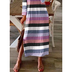 Striped Long Sleeves Shift Casual Maxi Dresses