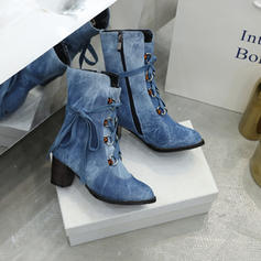 Women's Denim Chunky Heel Boots With Zipper Lace-up shoes