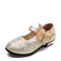 A menina de Toe rodada imitação de couro Heel plana Sem salto Sapatas do florista com Bowknot Strass Velcro