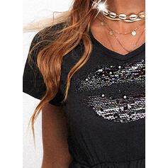 payetler/Düz / Tek (Renk) Kısa kollu Dar Kesim Diz üstü Küçük Siyah/Günlük Ruhák