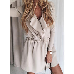 Solid Long Sleeves A-line Above Knee Elegant Skater Dresses