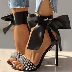 Femmes PU Talon stiletto Sandales Escarpins À bout ouvert avec Bowknot Rivet chaussures