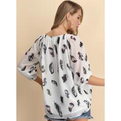 Print V-Neck 1/2 Sleeves Casual Elegant Blouses