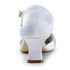 Frauen Satiniert Spule Absatz Geschlossene Zehe Absatzschuhe mit Schnalle