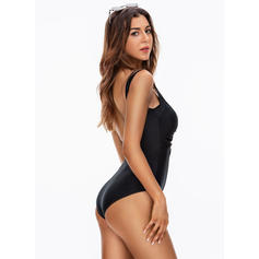 Splice color Strap V-Neck Sexy One-piece Swimsuits