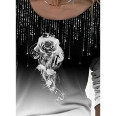 Blomstrete Gradient Trykk Rund hals Lange ermer T-skjorter