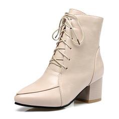 Dla kobiet PU Obcas Slupek Czólenka Zakryte Palce Kozaki Botki Z Sznurowanie obuwie
