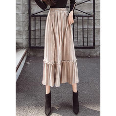 Velvet Plain Mid-Calf Pleated Skirts