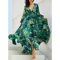 Floral Long Sleeves A-line Casual/Elegant/Boho/Vacation Maxi Dresses