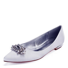 Frauen Kunstleder Flascher Absatz Geschlossene Zehe Flache Schuhe mit Kristall