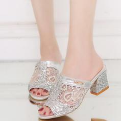 Femmes PU Talon bottier Sandales À bout ouvert avec Paillette chaussures