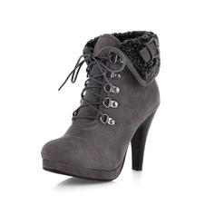 Femmes Suède Talon cône Plateforme Bout fermé Bottines chaussures