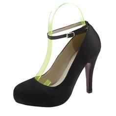 Women's Satin Stiletto Heel Closed Toe Platform Pumps With Buckle