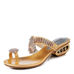 Women's Leatherette Flat Heel Sandals Flats Slingbacks Flip-Flops With Rhinestone shoes