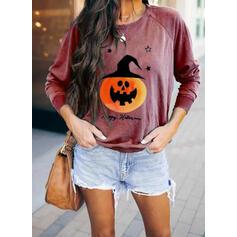 Impresión Cuello redondo Manga Larga Casual Halloween Camisetas