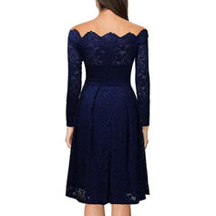 Lace/Solid Long Sleeves A-line Knee Length Party/Elegant Dresses