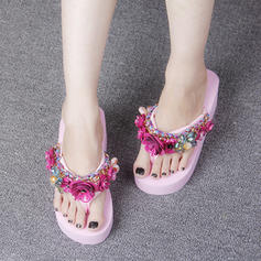 Women's Corn Bran Wedge Heel Wedges Slippers With Flower shoes