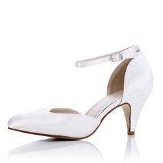 Femmes Soie Talon bobine Escarpins Sandales Chaussures qu'on peut teindre avec Boucle Ouvertes