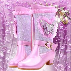 Flicka Stängt Toe Microfiber läder låg klack Stövlar Flower Girl Shoes med Spänne Kristall