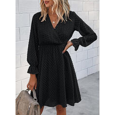 Solid Long Sleeves A-line Knee Length Little Black/Casual/Elegant Wrap/Skater Dresses