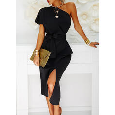 Solid Short Sleeves Bodycon Little Black/Party Midi Dresses