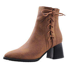 Women's Leatherette Chunky Heel Ankle Boots With Zipper Lace-up shoes