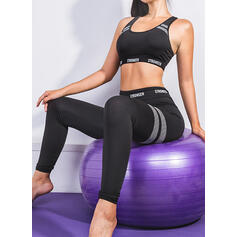 U-Neck Sleeveless Striped Sports Leggings Sports Bras