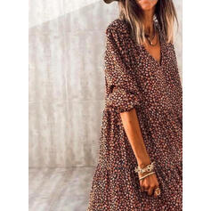 Print/Floral Long Sleeves Shift Casual/Vacation Midi Dresses