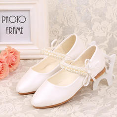 Girl's Leatherette Flat Heel Closed Toe Flower Girl Shoes With Beading Bowknot Velcro