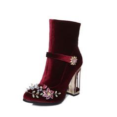 Mulheres Camurça Salto robusto Bombas Fechados Botas Bota no tornozelo com Cristal Fivela sapatos