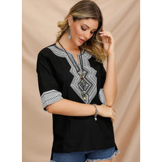Print V-hals 3/4 Mouwen Casual Blouses